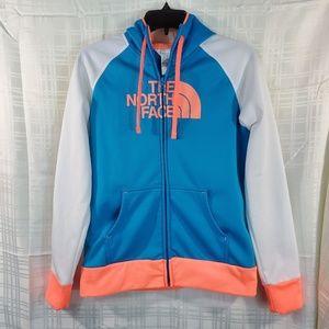 North Face fleece hoodie GUC M blue orange white